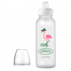 Biberon Gat Ingust, PP, 250ml., cu cioc ptr. inghitituri mici, Design Flamingo (BPA Free)
