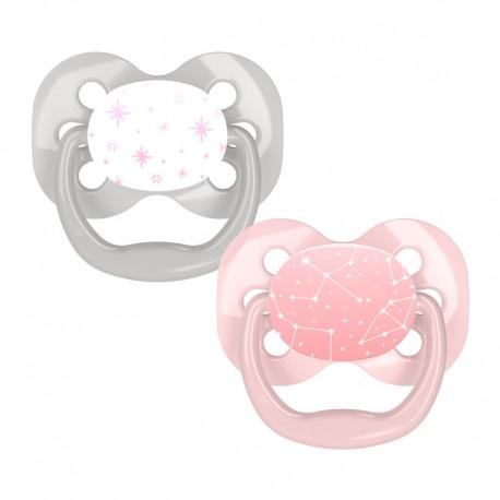 "Suzeta silicon ""Advantage"" cu capac, nivel 1 (0-6 luni), fetite (2 pack)"