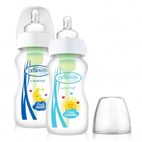 "Pachet Biberoane ""Options"", Gat Larg, Polypropilena Noapte/Zi, 270 ml (2-Pack) (BPA free)"