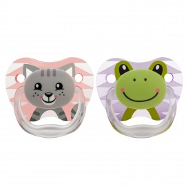 "Suzeta PreVent, 0-6 luni, Imprimata ""Animal Face"", 2pack, fete"
