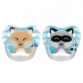 "Suzeta PreVent, 0-6 luni, Imprimata ""Animal Face"", 2pack, baieti"