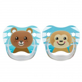 "Suzeta PreVent, 6-12 luni, Imprimata ""Animal Face"", 2pack, baieti"
