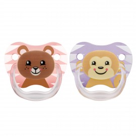 "Suzeta PreVent, 6-12 luni, Imprimata ""Animal Face"", 2pack, fete"