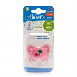 Suzeta PreVent din Silicon, cu capac, Design Fluture (BPA Free) 12 luni+, Roz