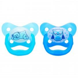 Suzeta Silicon PreVent Niv. 3 (12 luni+), Design Fluture, culori fosforescente (2 pack), Albastru
