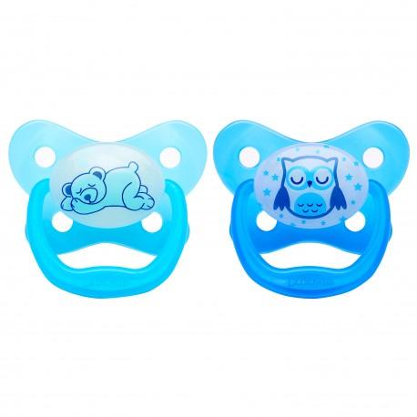 Suzeta Silicon PreVent Niv. 3, Design Fluture, culori fosforescente (2 pack), Albastru